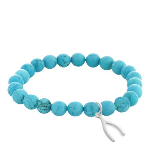 Alexa by Liv Oliver Sterling Silver Turquoise Wishbone Charm Bracelet