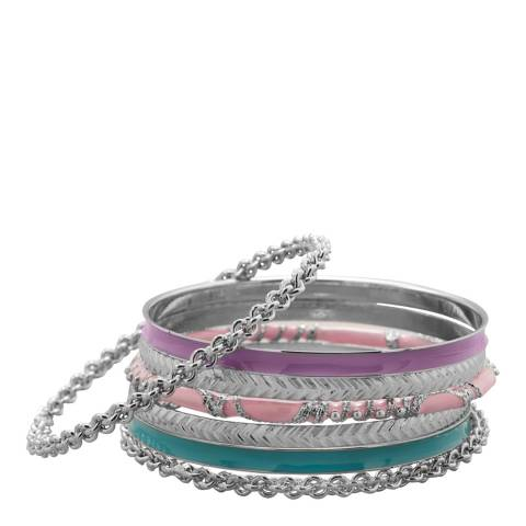 Alexa by Liv Oliver Multi Colour Bracelet Set In Silver