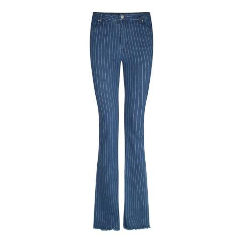 ST. Studio Dark Blue Pin Stripe Flared Jeans