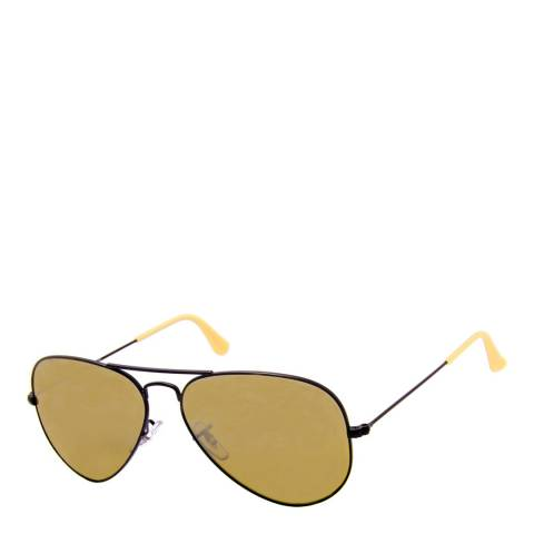 Ray-Ban Unisex Aviator Matte Black Brown/Brown Silver Mirror Gradient Sunglasses 58mm