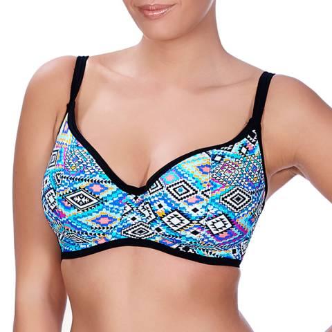 Freya Blue Folklore Underwired Sweetheart Padded Bikini Top