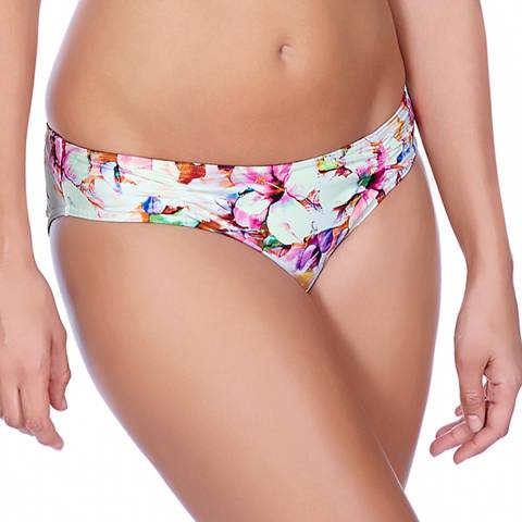 Freya White/Pink Coral Bay Ruched Hipster Briefs