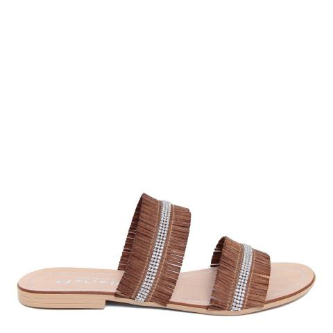 Mariella Brown Fringed Rhinestone Sandals
