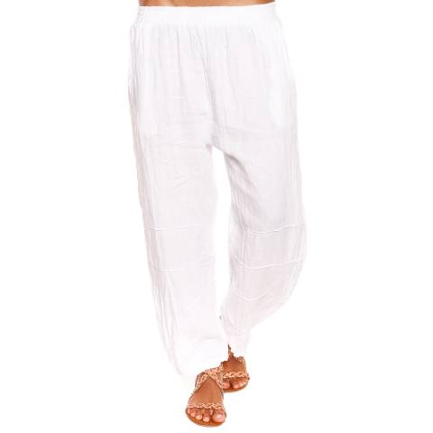 100% Linen White Rose Trousers