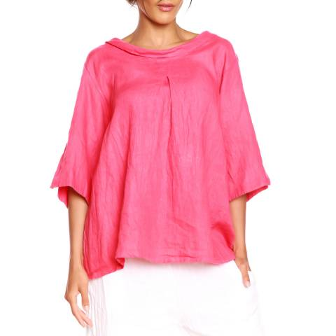 100% Linen Coral Loose T-Shirt