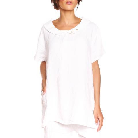 100% Linen White Kayla Top