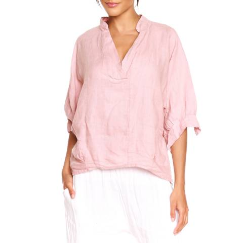 100% Linen Rose V-Neck Blouse