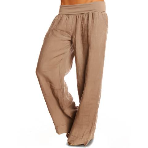 100% Linen Taupe Lea Linen Trousers