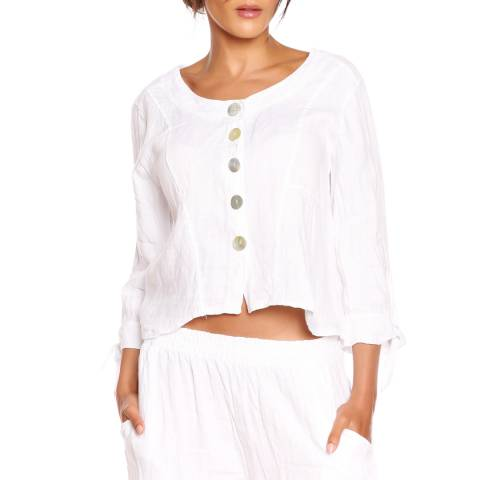 100% Linen White Ninon Top