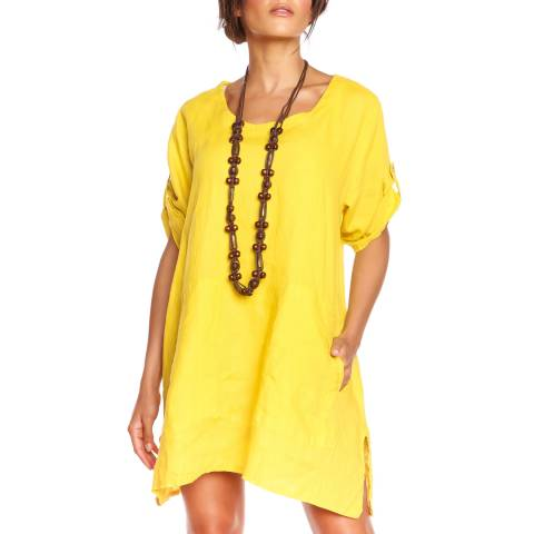 100% Linen Yellow Diana T-Shirt Dress