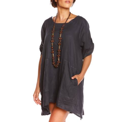 100% Linen Navy Summer Linen Dress