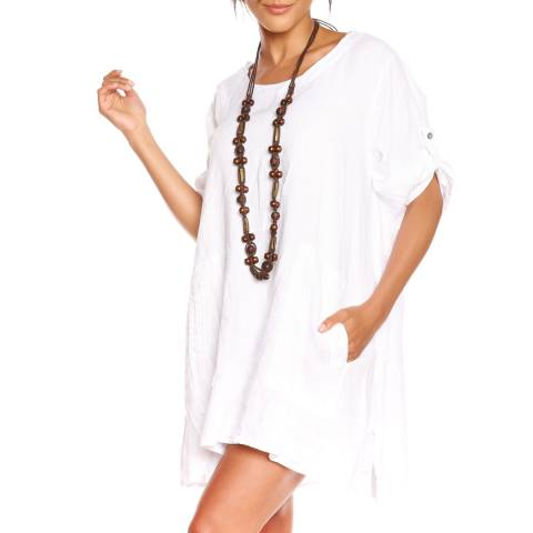 100% Linen White Diana T-Shirt Dress