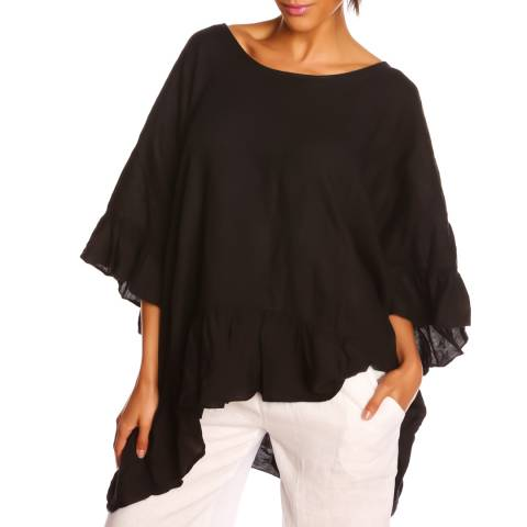 100% Linen Black Frill Top