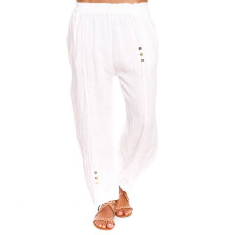 100% Linen White Linoy Trousers
