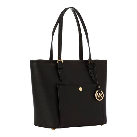 Michael Kors Black Jet Set Medium Leather Tote Bag
