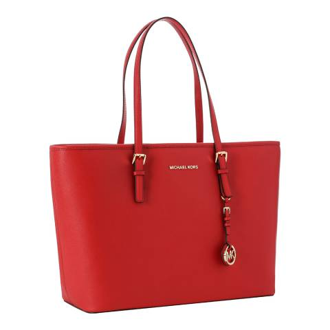 Michael Kors Red Jet Set Medium Leather Tote Bag