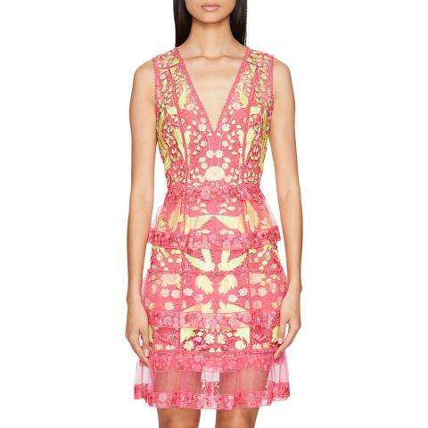 Marchesa Fuchsia Floral Lace Embellished Dress