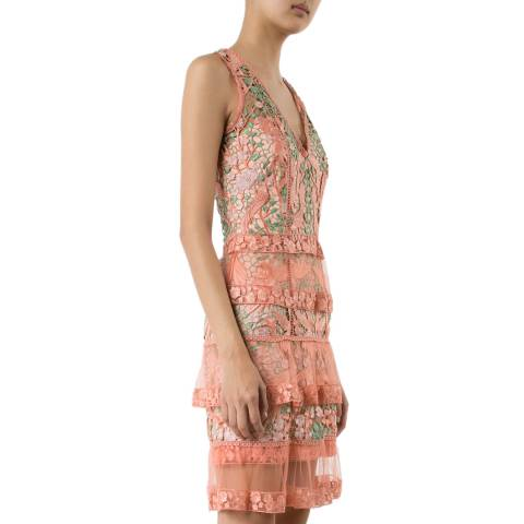 Marchesa Pale Coral Floral Sheer Layered Dress