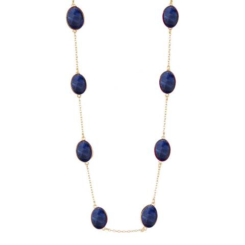 Liv Oliver Gold Sapphire Long Necklace