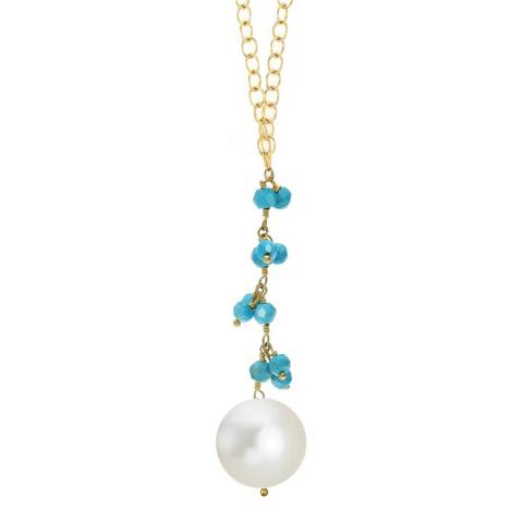 Liv Oliver Gold Plated Plated Turquoise And Pearl Drop Necklace