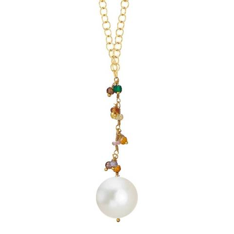 Liv Oliver Gold Multi Gemstone and Pearl Drop Necklace