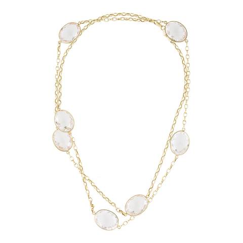 Black Label by Liv Oliver Gold Clear Quartz Long Necklace