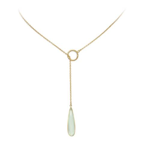 Liv Oliver Gold Chalcedony Lariat Necklace