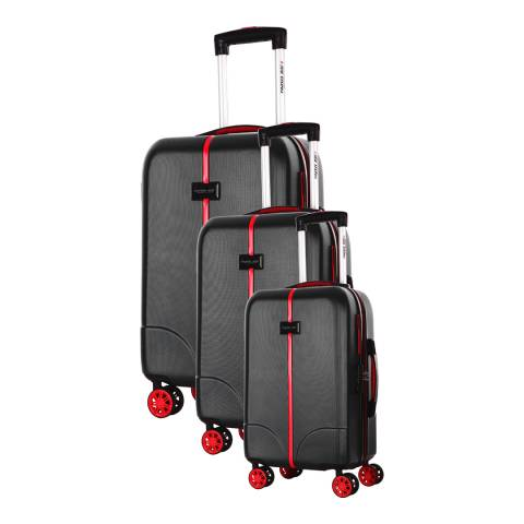 Travel One Set of 3 Black Spinner Langley Suitcases 50/60/70cm