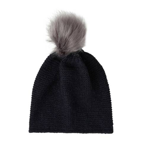 Laycuna London Navy Wool Blend Bobble Hat