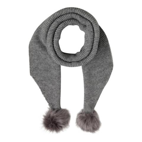Laycuna London Grey Wool Blend Bobble Scarf