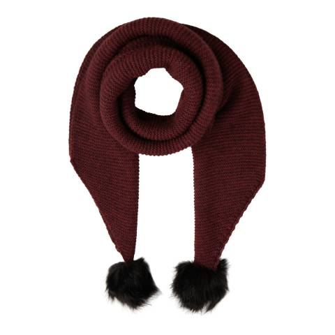 Laycuna London Wine Wool Blend Bobble Scarf