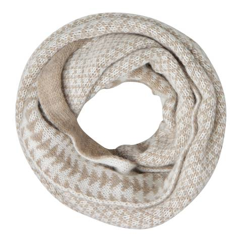 Laycuna London Taupe/White Geometric Wool Blend Snood