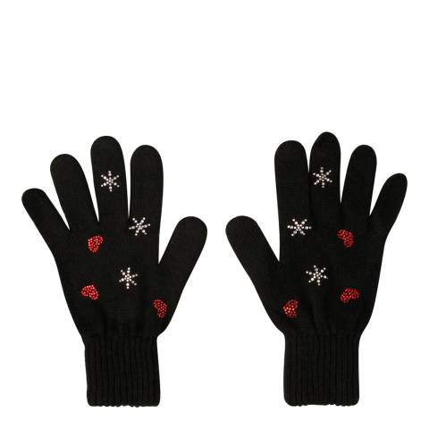 Laycuna London Black Embellished Wool Blend Gloves