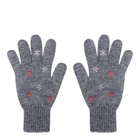 Laycuna London Grey Embellished Wool Blend Gloves