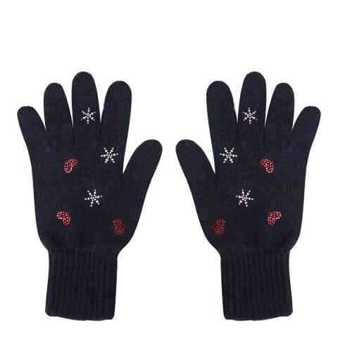 Laycuna London Navy Embellished Wool Blend Gloves