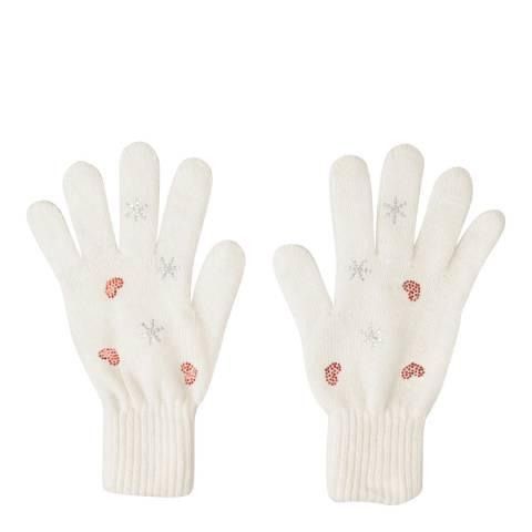 Laycuna London White Embellished Wool Blend Gloves