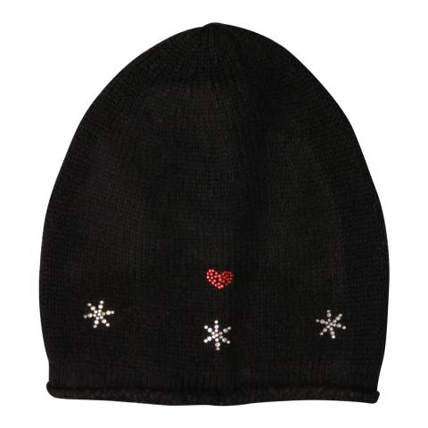 Laycuna London Black Embellished Wool Blend Hat