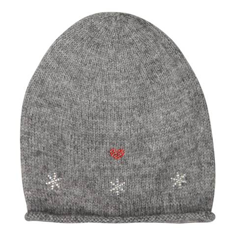 Laycuna London Grey Embellished Wool Blend Hat