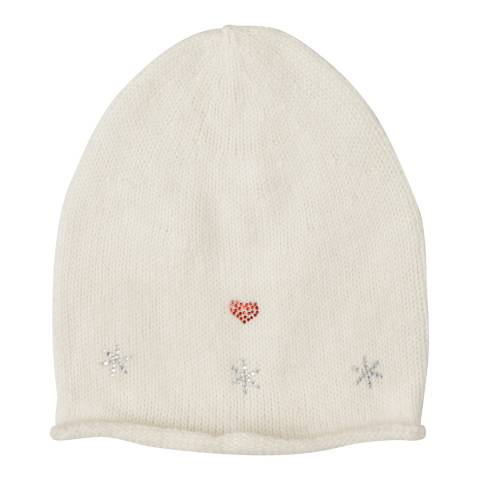 Laycuna London White Embellished Wool Blend Hat