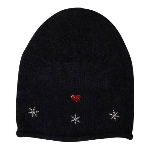 Laycuna London Navy Embellished Wool Blend Hat