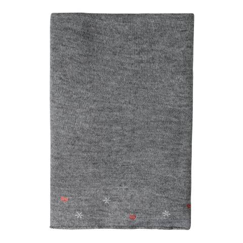Laycuna London Grey Embellished Wool Blend Scarf