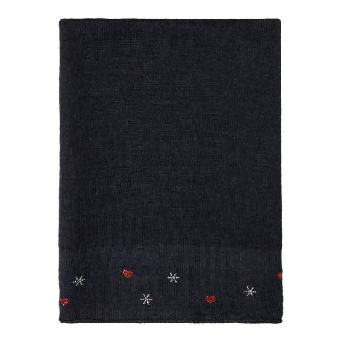 Laycuna London Navy Embellished Wool Blend Scarf