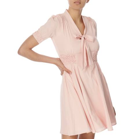 Jack Wills Pink Bousley Tie Front Dress