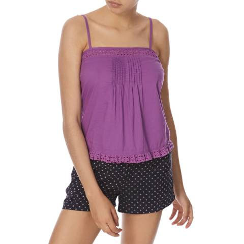 Jack Wills Purple Cotton Englefield Pintuck Cami Top
