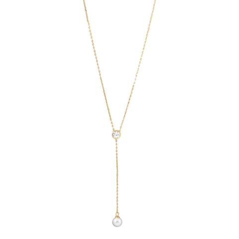 Chloe Collection by Liv Oliver Gold Cubic Zirconia and Pearl Drop Necklace