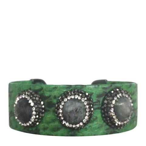 Alexa by Liv Oliver Sterling silver green leather multi labradorite crystal cuff