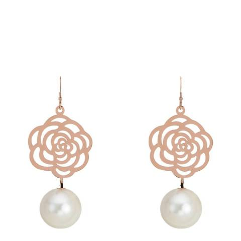 White label by Liv Oliver Rose Gold Cut Out Rose and Pearl Drop Earrings