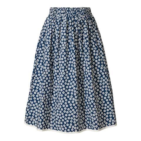 Orla Kiely Navy Cotton Scattered Wild Flower Skirt
