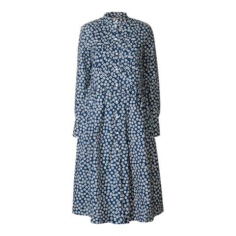 Orla Kiely Navy Cotton Scattered Wild Flower Button Bodice Dress