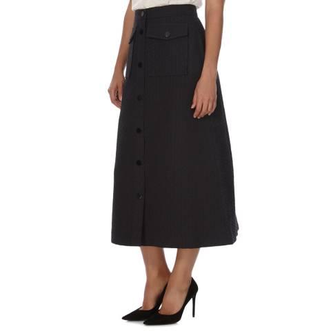 Orla Kiely Black Flower Spot Jacquard Midi Skirt